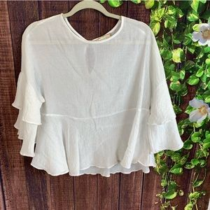 Eri + Ali white blouse with ruffles bell sleeves